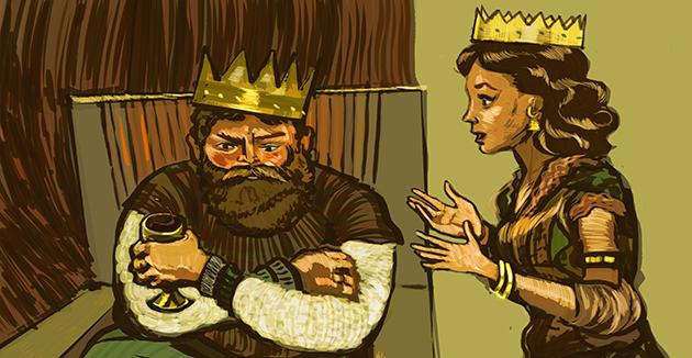 די פּורים־העלדין באַשרײַבט ווי זי האָט געפּרוּווט על־פּי לאָגיק איבערצײַגן דעם קעניג צוריקצוציִען המן הרשעס אַכזריותדיקע גזירה.