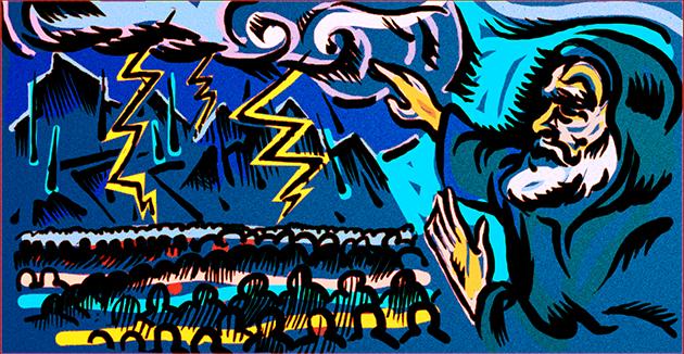 אין זײַן לאַנגער פּאָעמע וואָרנט משה רבינו די בני־ישׂראל וועגן די שטראָפֿן וואָס וועלן קומען, אויב זיי וועלן טאָן עבֿירות.