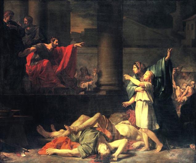 """זשאַן־באַפּטיסט דע וויגנאַלי, די פֿרוי מיט אירע זיבן אומגעבראַכטע קינדער פֿונעם """"ספֿר מכּבים"""" (1781)"""