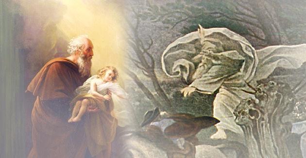 """דער וואַלד־קיניג פֿון געטעס ליד אויפֿן בילד פֿון מאָריץ פֿאָן שווינד (רעכטס) און אליהו הנבֿיא, ווי דער פֿראַנצויזישער מאָלער לויִ ערסאַן האָט אים פֿאָרגעשטעלט — צוויי היפּוכדיקע באַדײַטן פֿונעם לשון־קודשדיקן אויסדרוק """"שׂר־היער""""."""