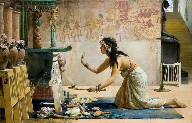 """""""די טויטן־צערעמאָניע פֿון אַ מצרישער קאַץ"""", מאָלערײַ פֿון דזשאָן רײַנהאַרד וועגועלין, 1886"""