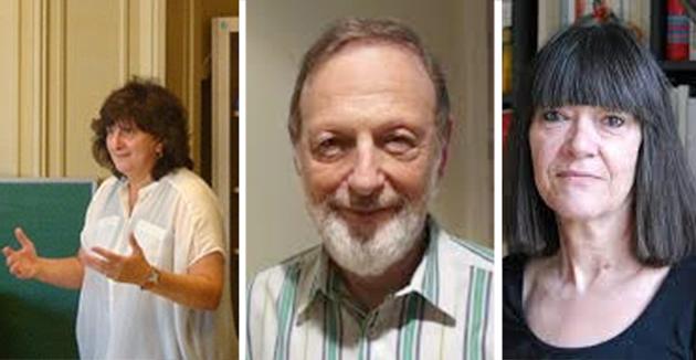 פֿון רעכטס: אַניק פּרים־מאַרגולעס, יצחק ניבאָרסקי,סאָניע פּינקוסאָוויטש־דראַטוואַ