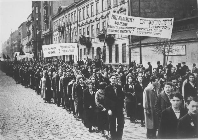 אַ בונדישע דעמאָנסטראַציע אין וואַרשע, דעם ערשטן מײַ 1936