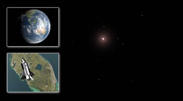 דער הימל אַרום דער פּלאַנעט ״Gliese 581d״ אין דער פּראָגראַם ״Celestia״. לויטן חשבון פֿון די וויסנשאַפֿטלער, קאָן דער מצבֿ דאָרטן זײַן גענוג ענלעך צו אונדזער ערד. אין פֿאַרגלײַך מיט אונדז, איז די זון דאָרטן אַ רויטלעכע.