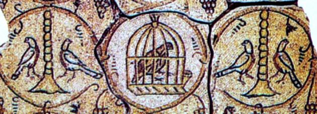"""טויבן אויף דער וואַנט־מאָזאַיִק פֿון דער אוראַלטער """"מעון־שיל"""" אין ארץ־ישׂראל"""