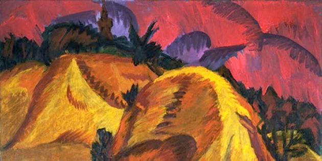 """ערנסט לודוויג קירשנערס קונסטווערק, """"זאַמדיקע בערג פֿון ענגאַדין"""" (1917־1918)"""
