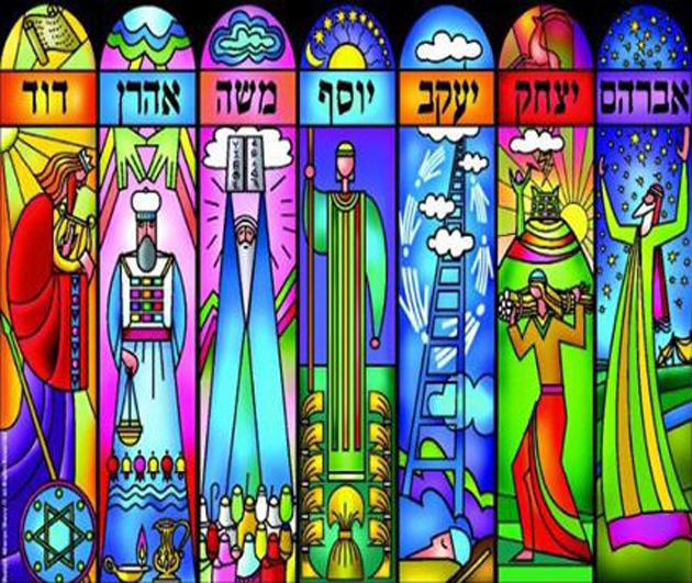 אַן אילוסטראַציע פֿון די זיבן געסט, אושפּיזין, וואָס מע פֿאַרבעט אין דער סוכּה: אַבֿרהם אָבֿינו, יצחק, יעקבֿ, משה רבינו, אַהרן הכּהן, יוסף הצדיק און דוד המלך