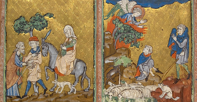 """דער מלאך הייסט אַבֿרהמען מקריבֿ צו זײַן אַ לעמעלע אַנשטאָט יצחקן; די שפּאַנישע """"גאָלדענע הגדה"""" פֿון אָנהייב דעם 14טן יאָרהונדערט"""