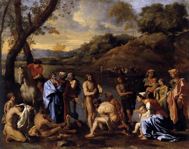 יוחנן המטביל מיט זײַנע חסידים, לויטן דמיון פֿונעם פֿראַנצויזישן קינסטלער ניקאָלאַ פּוסען