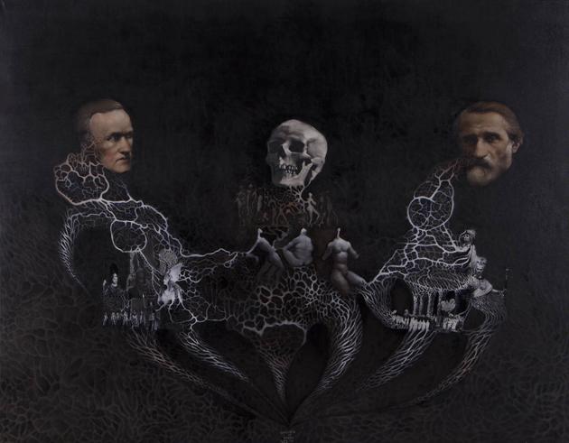 """""""Wagner vs. Verdi"""", oil on canvas, 2014"""