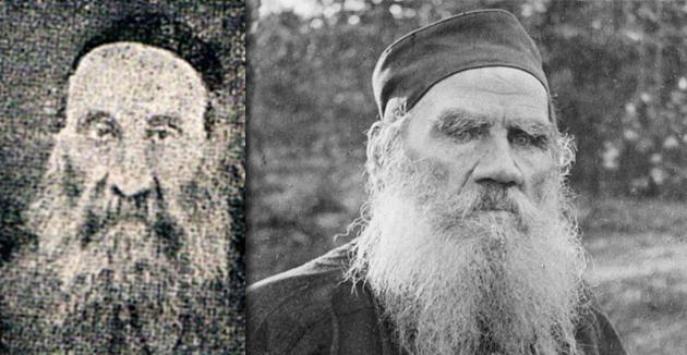 לעוו טאָלסטוי (רעכטס) און זײַן ייִדישער נאָכפֿאָלגער, הרבֿ יהודה־לייב דון־יחיא